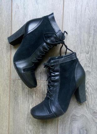 Черные кожаные замшевые ботинки ботильоны полу сапоги шнуровка турция