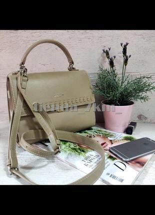 Женская сумка через плечо / клатч с косичкой  david jones 6244-1t бежевый