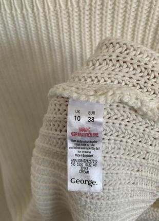 Белый свитер george с воланами на рукавах8 фото