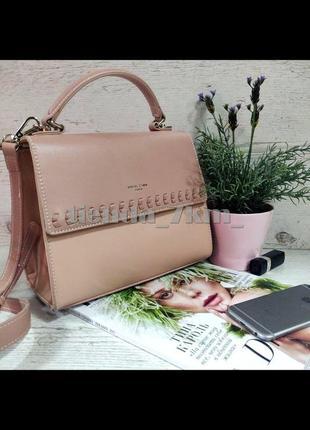 Женская сумка через плечо / клатч с косичкой david jones 6244-1t розовый