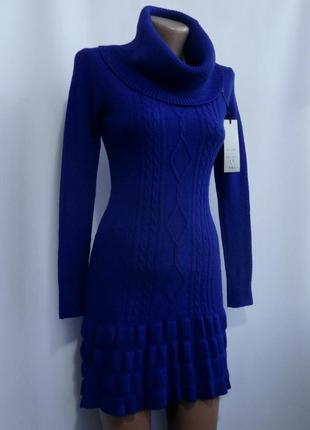 Красивое теплое вязаное платье - синее