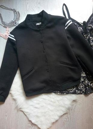 Черный плотный бомбер деми короткая куртка теплая с карманами стрейч батал оверсайз