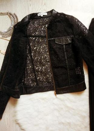 Черная ажурная куртка кардиган на молнии с кожаными вставками вышивкой органза короткая