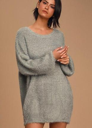 Шерстяной пушистый,травка,серебряный,объёмный свитер,кофта,джемпер,италия