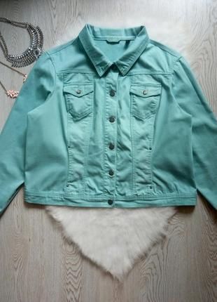 Джинсовая голубая мятная бирюзовая короткая куртка джинсовка батал большой размер цветная
