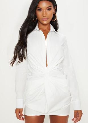Ликвидация товара 🔥 белое мини платье рубашка с узлом спереди