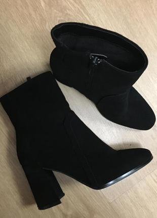 Стильные ботильоны ботинки 💯 % замша на клешеном каблуке р.38