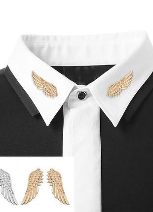 Броши на воротники золотые крылья, брошки, значки, значок, брошь, брошка