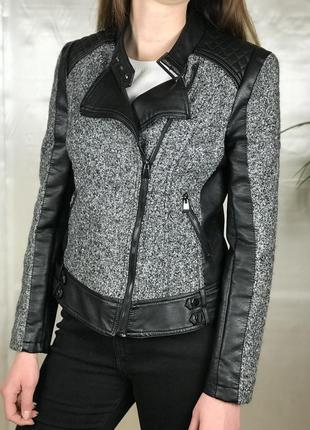 Куртка косуха меланжевая со вставками из эко-кожи amisu