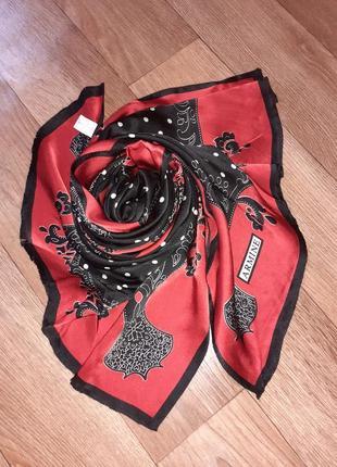 Большой шелковый шарф палантин шаль 100% шелк в горох armine |160*58 см