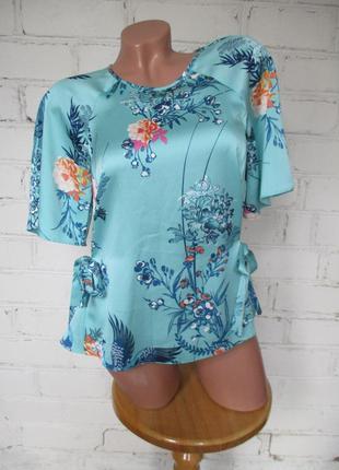 Блуза яркая бирюзовая в принт/полиэстер