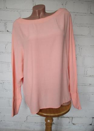 Рубашка/блуза персиковая вискозная с пышным рукавом летучая мышь/вискоза/s-m
