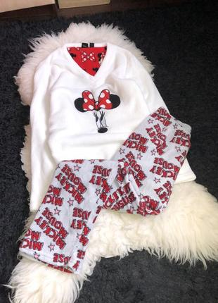 Пижама флисовая махровая микки минни маус mickey minnie принт флис