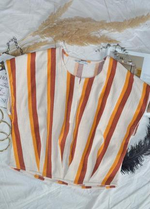 Актуальна крута укорочена блуза - топ zara в полоску.