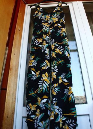 Натуральный. комбинезон, комбінезон, в цветы, квіти, черный, платье, нарядный