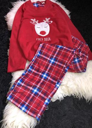 Пижама в клетку новогодняя флисовая флис олень раздельная двойка домашняя