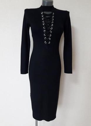 Эффектное,элегантное,женственное,облегающее,сексуальное платье-миди в микро-рубчик