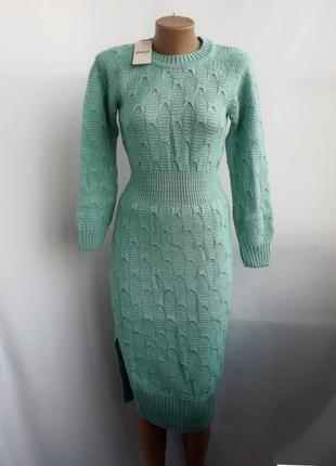 Теплое платье ажурной вязки - бирюза