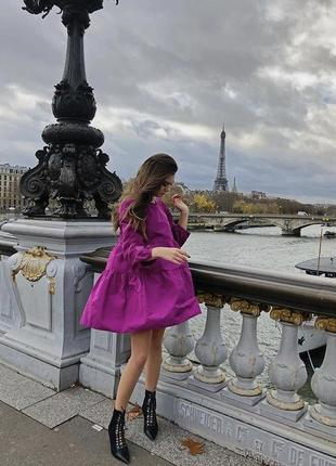 Платье из тафты цвета фуксии zara