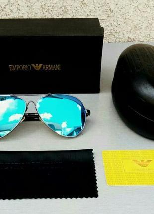 Emporio armani очки капли мужские солнцезащитные зеркальные голубые