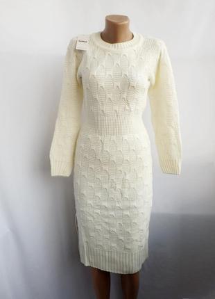 Теплое платье ажурной вязки - молочное