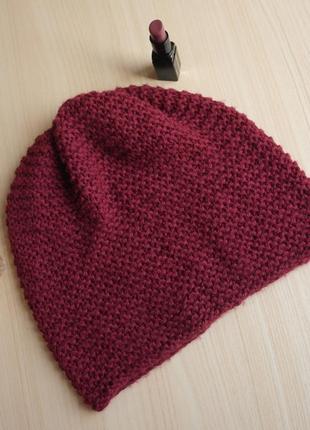 Берет бордовый свободный шапка легкая