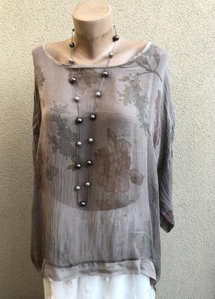 Шелковая,прозрачная блуза реглан,разлетайка,летняя пляжная,