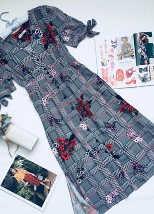 Платье рубашка в цветы