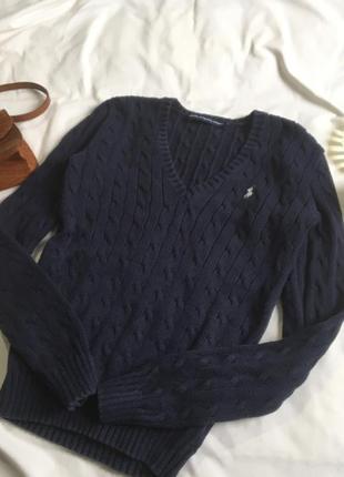 Трэнд хлопковый свитер в косы ralph lauren люкс