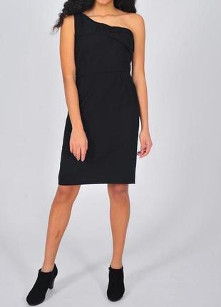 Черное теплое платье paul&joe шерстяное шерсть женское на одно плечо шелк весна классика