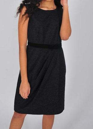 Серое черное платье hobbs теплое шерсть женское миди весеннее на весну на запах