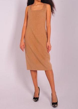 Бежевое платье ralph lauren телесного цвета теплое шерсть шелк миди бренд женское ральф