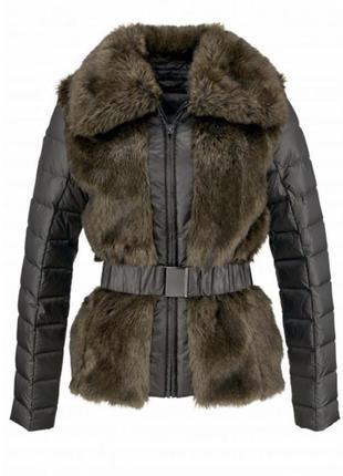 Актуальная  демисезоная комбинированная меховая куртка пуховик 90 % пух,р.38 и 40 , англия