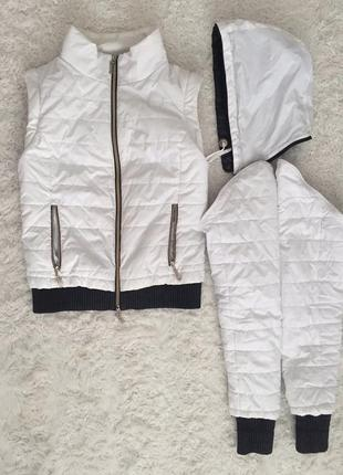 Куртка-жилетка 2в1, жилетка белая