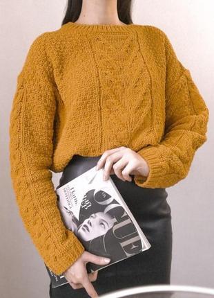 Плюшевый бархатный велюровый горчичный свитер