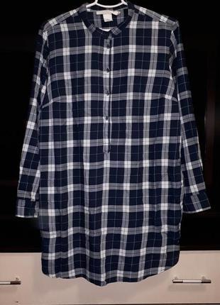 Крутое платье-рубашка в клетку с карманами раз.xl
