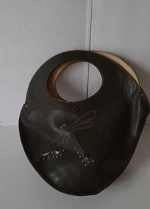 Круглая модная сумочка 100% кожа. кожаная сумка ручная работа