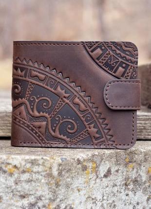 9 отделов мужской кожаный кошелек коричневый с орнаментом тиснение