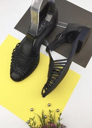 Кожаные туфли с ремешком на щиколотке new look