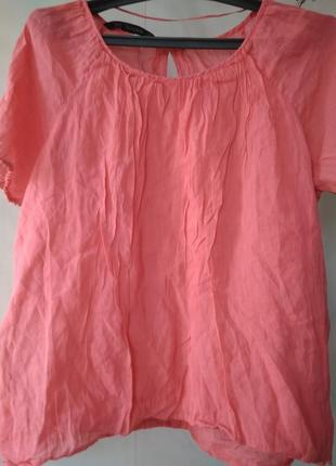 Натуральная хлопковая свободная блузка zara basic spain