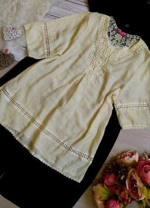 Шикарная  блуза -туника с кружевом, вышитая бусинками размер 18-20(50-54)