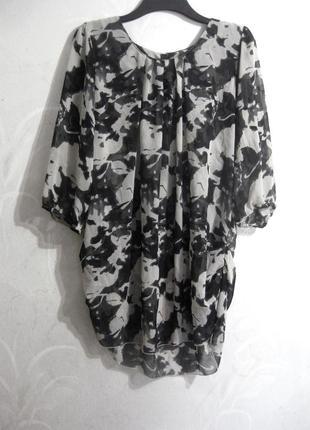Блуза туника vero moda пёстрая серая цветы чёрная свободная летняя