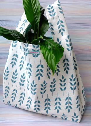 """Сумка-пакет """"маечка"""" для покупок c веточками, эко сумка,торба, сумка шоппер"""