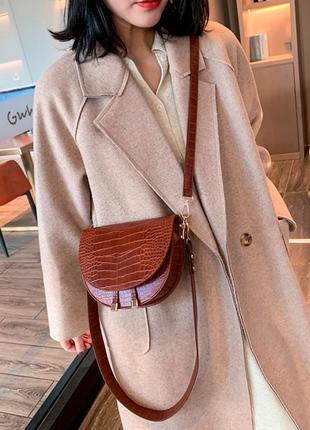 Сумка сумочка структурированная седло кросс боди винтажная с широким ремнем новая
