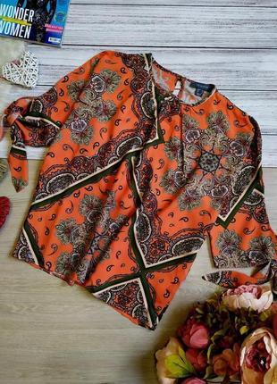 Шикарная вискозная блуза в турецкий принт с завязочками на рукавах размер (40-46)