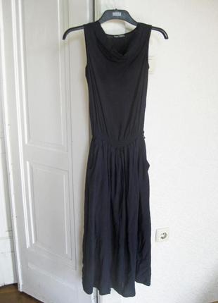 Длинное тёмное синее платье mari time с карманами трикотажное повседневное летнее