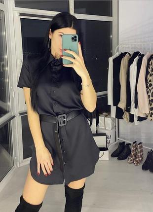 Чёрное платье-рубашка