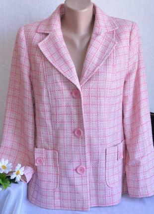 Брендовый розовый пиджак жакет с карманами в клетку wardrobe шерсть акрил