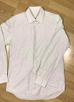 Prada белая рубашка в полоску
