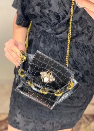 Тренд 2020 сумка клатч с цепью чёрная
